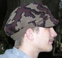 A Knit Winona Camo Ridge Runner Hat ~  color way Q moch/black/brown Merino