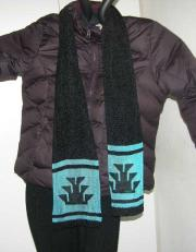 knit chenille scarf with hand painted Native foot design on a Slinky Rayon Strip