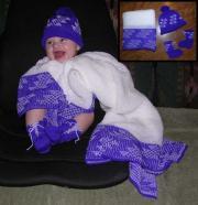 "A Baby Layette"" ~ Blanket, Cap, Booties ~ Flint Design ~ Choose Colors"