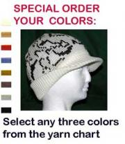 Camo Beanie Visor Cap in color O: Ivory/Black/White