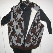 A Knit Winona Camo Classic© Vest ~ Sherpa Lining shown in S grey black brown