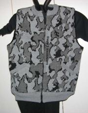 A Knit Winona Camo Classic© Vest ~ Sherpa Lining shown in F grey black dark grey