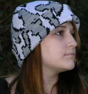 Knit Camo Boarder Beanie in color G Snow Camo