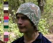 Camo Knit Skull Beanie shown in light olive/ivory/camel