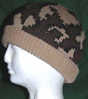 Camo Ski Runner Beanie w Lycra Rib Band color E