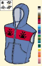 Native American Knit Hoodie Vest Zipper front Handwarmer Pockets