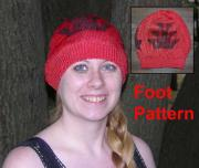 Hand painted Rayon Knit Red hat with Foot Motif painted in Black