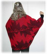 Knit Shrug featuring the Swallow Tail Basketry Motif ~ Back View