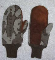 A Knit Winona Camo© Deerskin Mitten ~ Sherpa Lined ~ merino camo brown mocha
