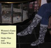 Winona Camo Knit Women's Slipper Sock ~ Order Size and Color
