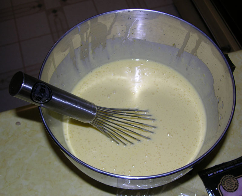 now the egg mixture should be a 'pale yellow'.
