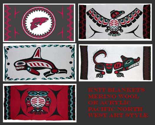 Collection of Knit Pacific Northwest Coast Salmon, Wolf, Orca, Owl and Eagle Blankets
