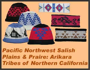 A collection of knit indian caps and headbands from various tribal cultures