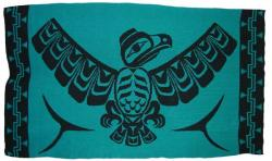 Eagle with Spreading Wings is honored in this Pacific Northwest Knit Blanket