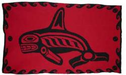Orca Killer Whale is honored in this Pacific Northwest Knit Blanket