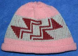 Stairway to Heaven  Native Basketry Mark on this Baby Indian Beanie Acrylic