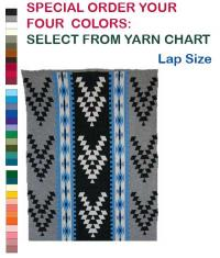 Friendship Design featured on this four color Hupa Karuk Yurok Lap Blanket