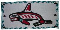 Orca Killer Whale is honored in this 4 Color Pacific Northwest Knit Blanket