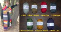 7 colors Nature Spun Wool Yarn Kit ~ 18 Skeins ~ Replica of Doctor Who Style Sca