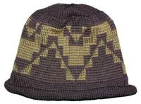 Mush Pot Basketry Motif featured on Native Knit Cap with roll hem