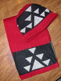 Big Goose Indian Basketry Design in Knit Adult Cap and Scarf Set