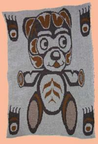 Crib Baby Blanket Teddy Bear with Bear Paws Design ~ Pacific Northwest Coast Art