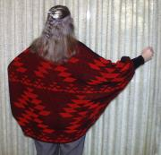 Native Friendship Shrug ~ Back View ~ Shown in Black and Red