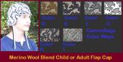 Adult or Child Camo Knit Flap Cap Peruvian Style