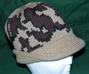 Knit Camo Beanie Visor Cap in color E: Camel/Black/Brown