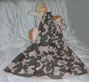 Acrylic Knit Camouflage Baby Blanket ~ Shown in color way H camel/brown/olive