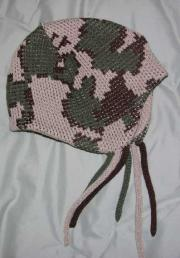 Acrylic Knit Baby Camo Flap Cap ~ Shown in Colorway H Camel/brown/olive