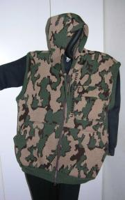knit Winona camo hooded vest with handwarmer pockets color H