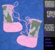 Acrylic Camouflage Baby Booties - Camo Design - New Born or 6M ~ Select Color
